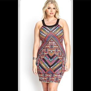 NWT F21 Tribal Print Open Back Dress